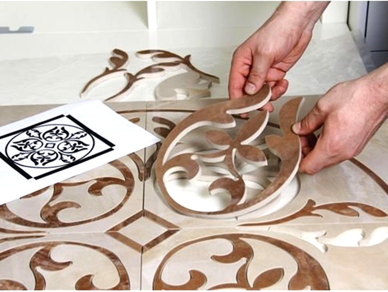 Finished ceramic material cut by water jet