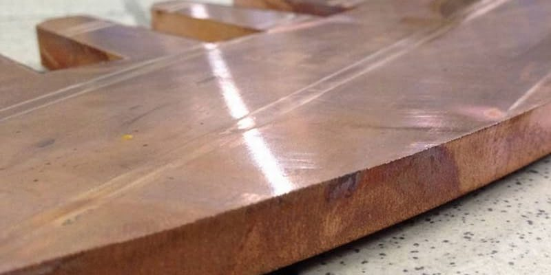 Samples of water jet cutting copper (3)